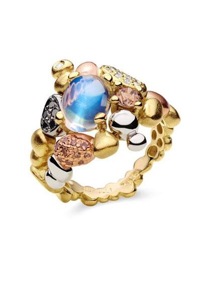 Summer Pebble Moonstone & Diamond Ring