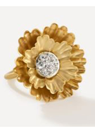 18k Yellow Gold And White Gold Flower 30mm Ring