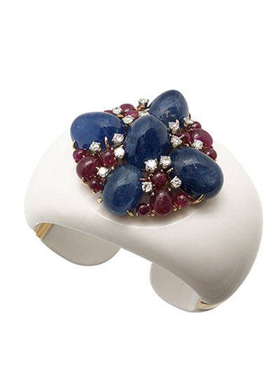 Sapphire, Ruby and Diamond Cuff Bracelet
