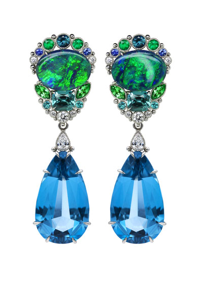 City Opal Tops Earrings In Platinum with Assorted Stones With Lightning Ridge Opal (14.44Carats), Indigo Tourmaline (3.41Carats), Tsavorite Garnet (1.02Carats), Emeralds (0.51 Carats),Blue Sapphire (0.30 Carats),