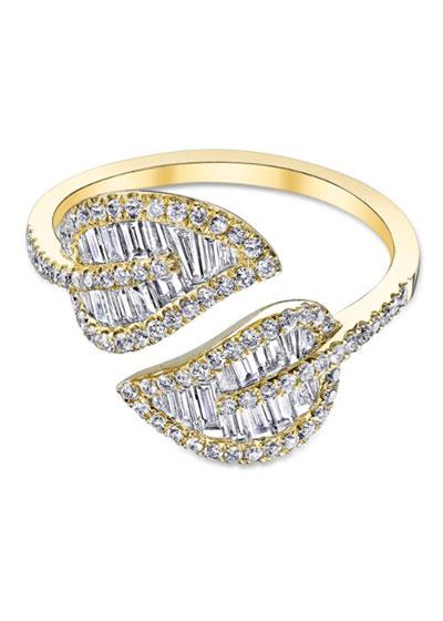 18k Gold & Diamond Leaf Ring