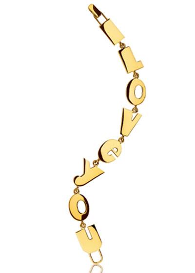 18k Yellow Gold I Love You Bracelet