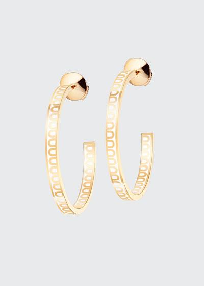 18k Yellow Gold Ceramic L'Arc Hoop Earrings  Neige