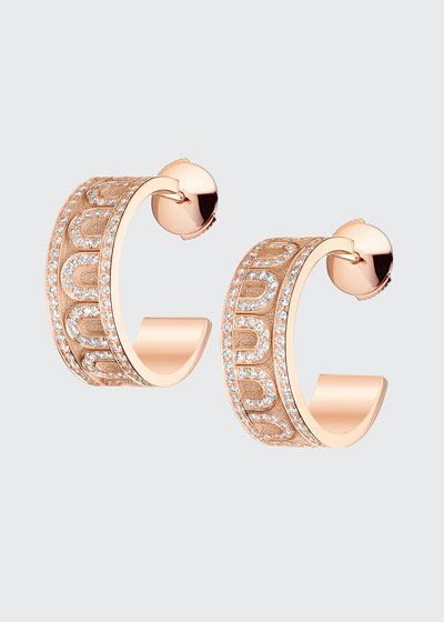 18k Rose Gold Diamond L'Arc Hoop Earrings