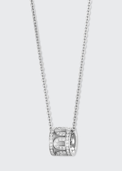 18k White Gold Diamond L'Arc Bead Necklace
