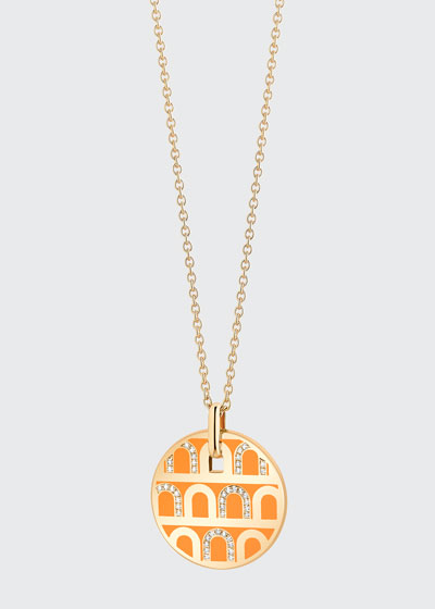 18k Yellow Gold Ceramic and Diamond L'Arc Necklace