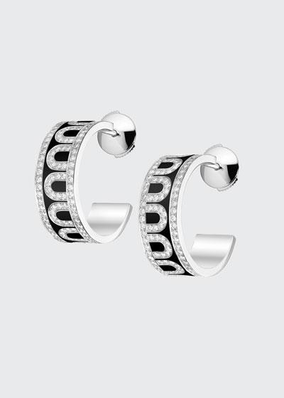 18k White Gold Ceramic and Diamond L'Arc Hoop Earrings  Caviar