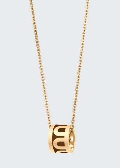18k Yellow Gold Ceramic L'Arc Bead Necklace  Cognac