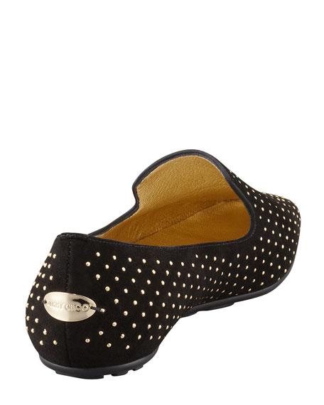 Wheel Studded Suede Belgian Loafer, Black