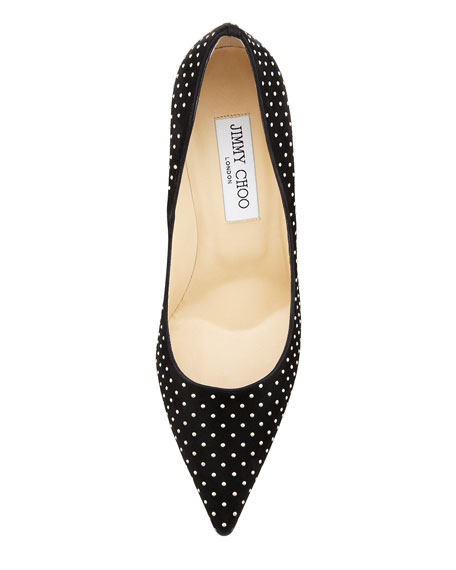 Abel Studded Suede Pointed Toe Pump, Black