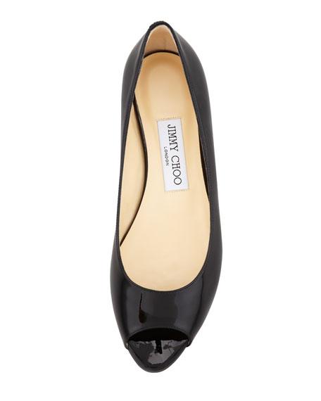 Beck Patent Peep-Toe Flat, Black