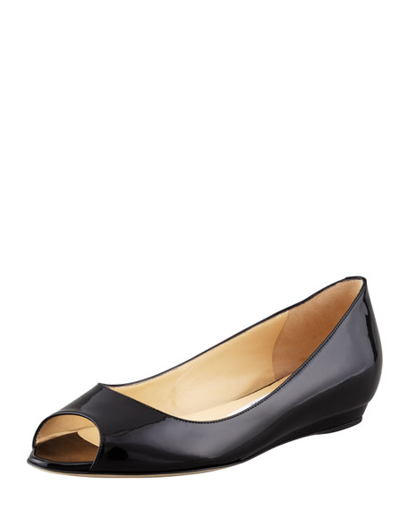 Jimmy Choo Beck Patent Peep-Toe Flat, Black