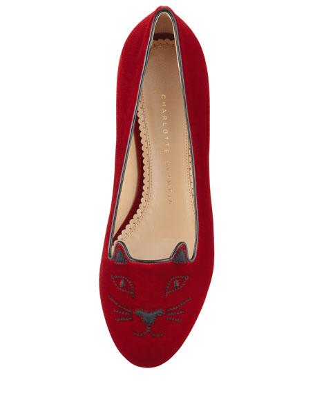 Kitty Cat-Embroidered Velvet Slipper, Red