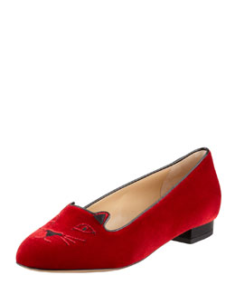 Charlotte Olympia Kitty Cat-Embroidered Velvet Slipper, Red