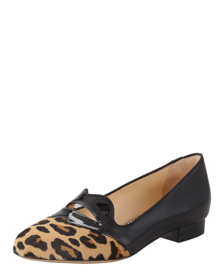 Bisoux Lip-Detail Leopard Patent Slipper