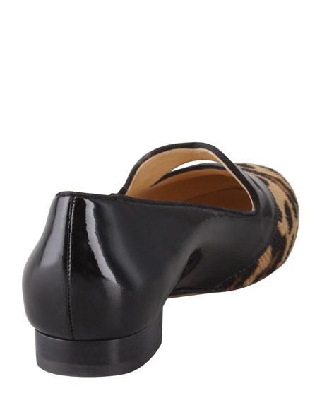 Bisoux Lip-Detail Leopard Patent Slipper