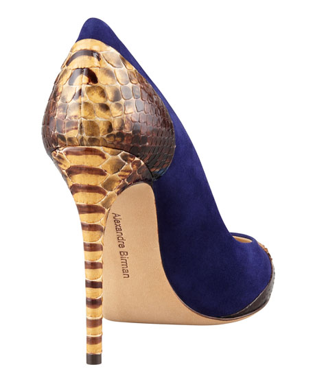 Criminal Python & Suede Pointy-Toe Pump
