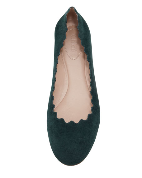 Scalloped Suede Ballerina Flat, Green