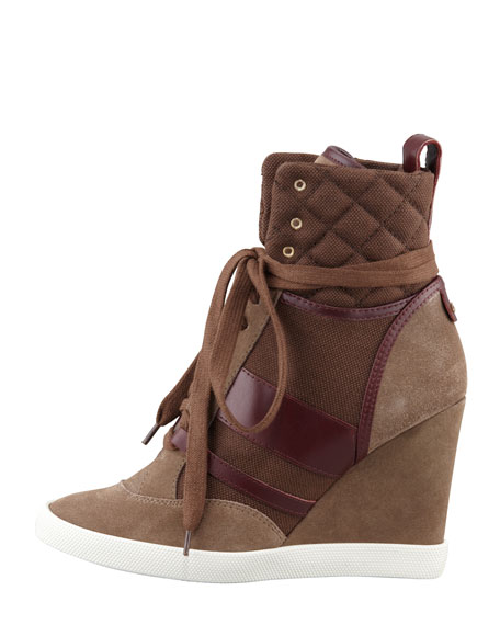 Mixed-Media Wedge High-Top Sneaker, Burgundy
