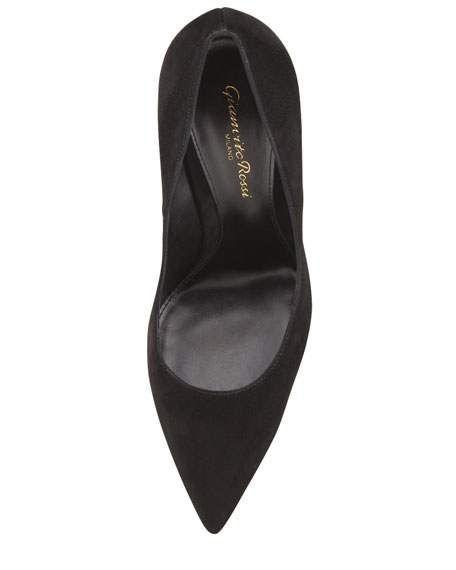 Suede Pointed-Toe Pump, Black