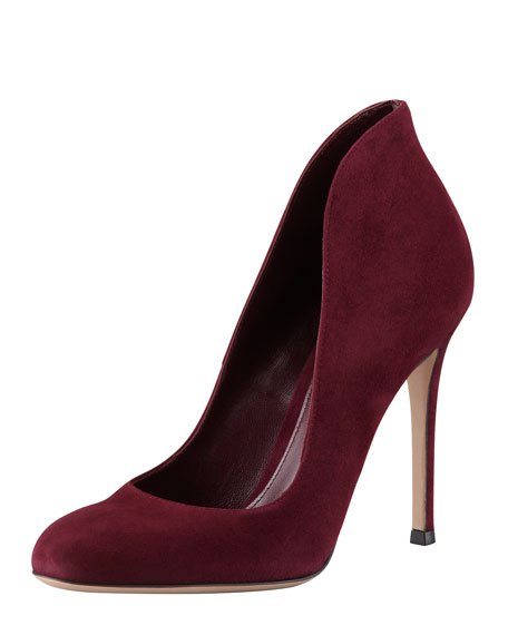 Suede High-Back Pump, Burgundy