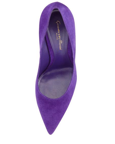 Suede Pointed-Toe Pump, Purple