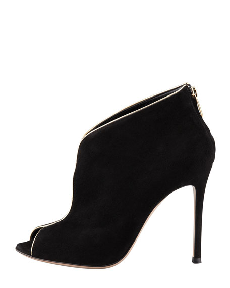 Peep-Toe Metallic-Trim Bootie