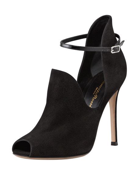 Suede Peep-Toe High-Vamp Sandal