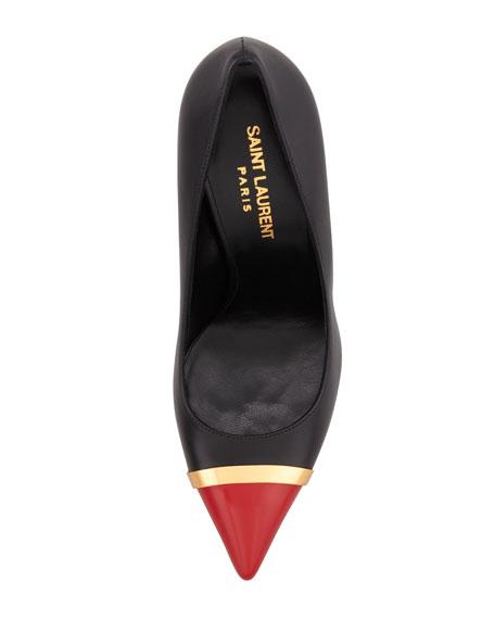 Paris Cap-Toe Pump, Black/Red
