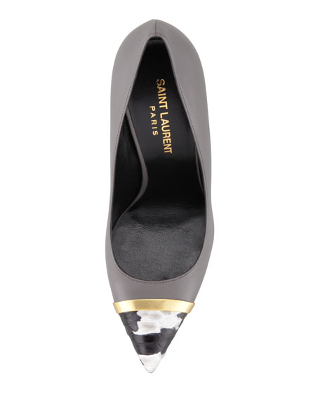 Paris Pointed Metal & Python-Toe Pump, Gray