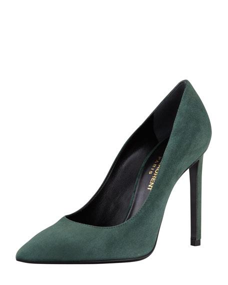 Paris Suede Pointed-Toe Pump, Dark Green