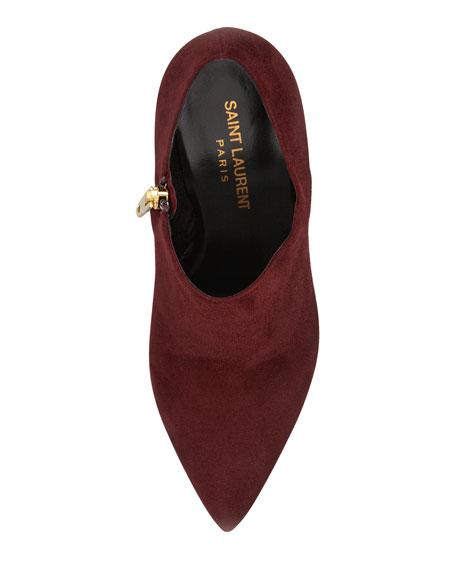 Janis Metallic-Midsole Platform Bootie, Burgundy