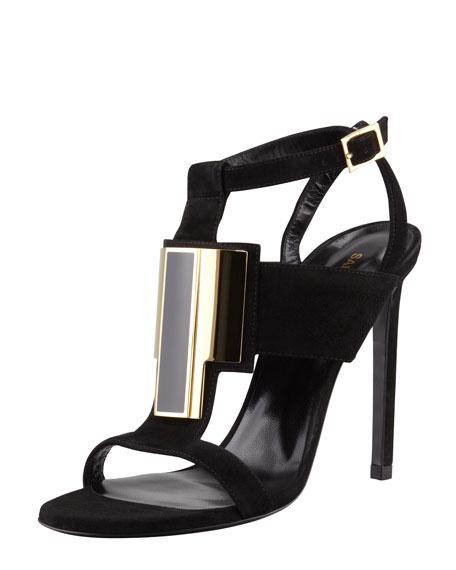 Janis Metal-Front Suede Sandal, Black