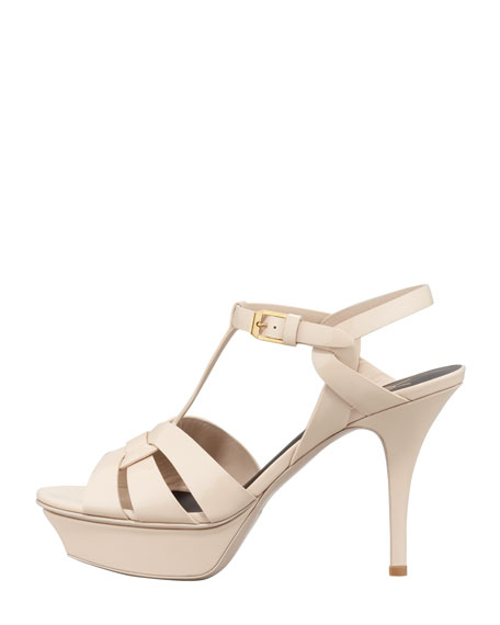Tribute Patent Low-Heel Sandal, Tan