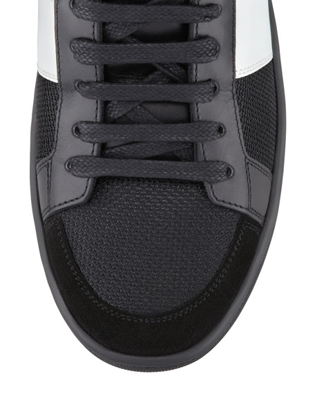 Mesh & Leather Mid-Top Sneaker
