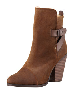 Rag & Bone Kinsey Waxed Suede Bootie, Dark Brown
