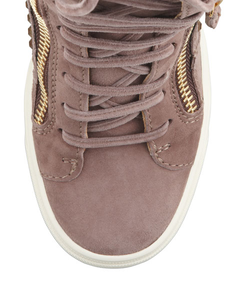 Crystal-Studded Suede Wedge Sneaker, Taupe