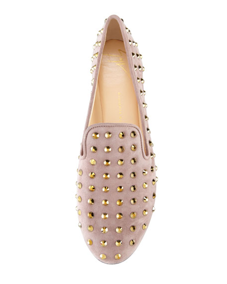 Studded Suede Smoking Slipper, Taupe