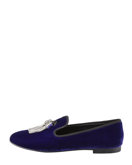 Velvet Crystal Tassel Smoking Slipper, Blue