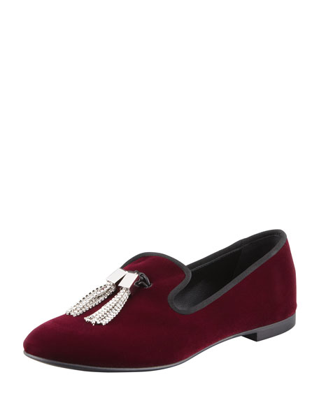 Velvet Crystal Tassel Smoking Slipper, Wine