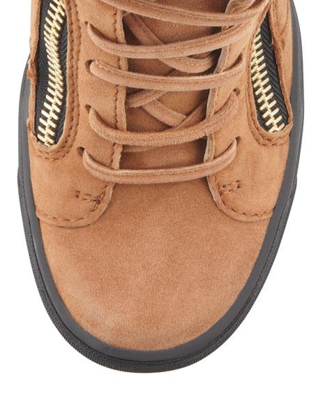 Fringe Suede Wedge Sneaker, Tan