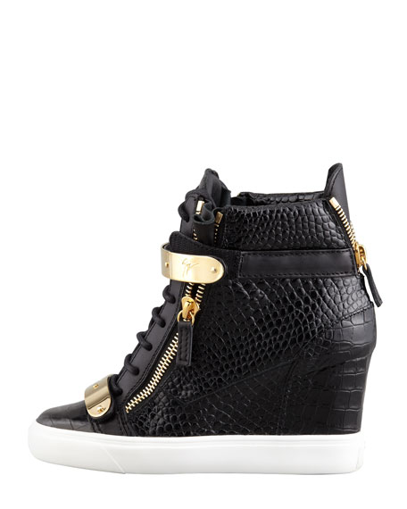 Embossed Leather Wedge Sneaker, Black