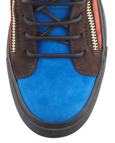 Colorblock Suede Hi-Top Sneaker, Red/Blue