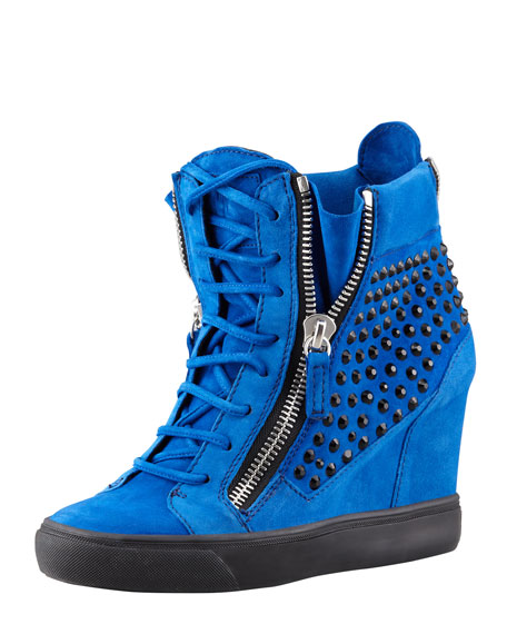 Crystal-Studded Suede Wedge Sneaker, Blue