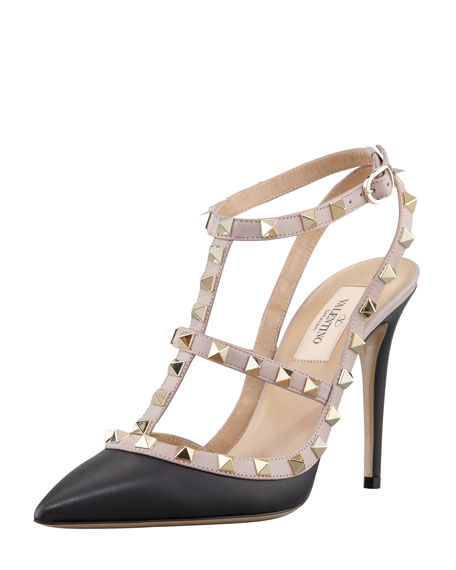 Rockstud Two-Tone T-Strap Slingback Pump, Black