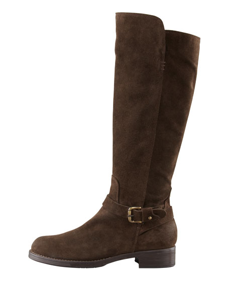 Suede Ankle-Strap Tall Boot, Brown