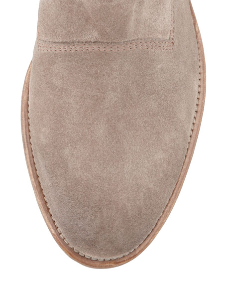 Low-Slung Suede Ankle Boot, Taupe