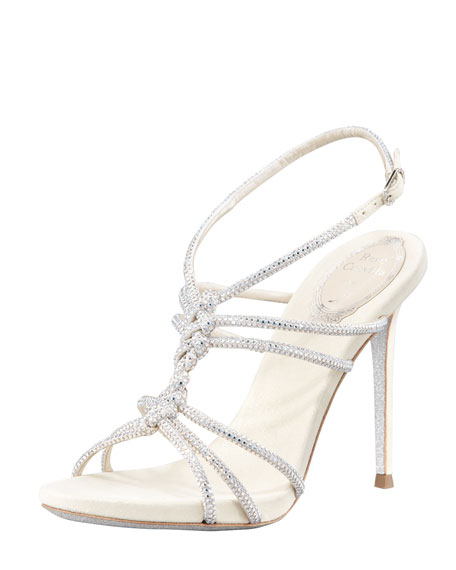 Twisted Crystal Single-Sole Sandal, Silver