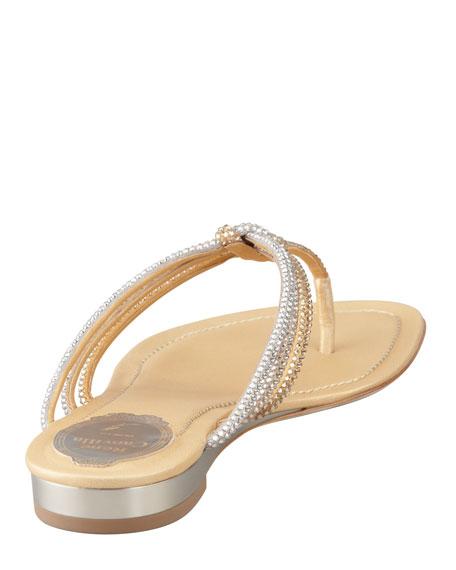 Braided-Knot Strass Slide Thong Sandal