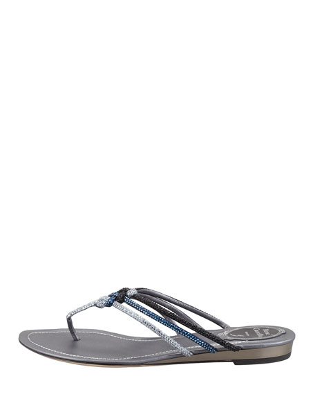 Knotted Crystal Flat Thong Sandal, Dark Mix
